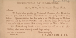 Advert for the Alderson & Co Department Store